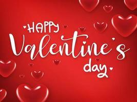 Tarjeta del día de San Valentín con corazones rojos brillantes sobre fondo rojo degradado. vector