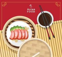 vector de ilustración de dim sum de comida china, dim sum de comida asiática en vapor