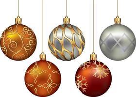 juego de colores de bolas de navidad. ilustración vectorial. vector