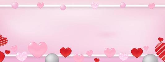 concepto del día de San Valentín con corazones alrededor del marco con espacio de copia. utilizar para tarjeta de felicitación o plantilla de banner como diseño. vector
