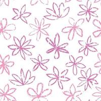 Seamless floral pattern. Stylish drawn flowers over white background. Abstract textured line art flourish ornament. vector
