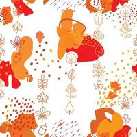 Autumn leaves seamless pattern. Leaf icon set in ornamental tile background. Fall nature backdrop in eastern style. vector