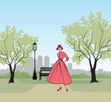 Retro fashion dressed woman 1950s 1960s style in city park landscape