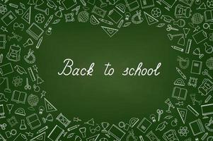 Back to School chalkboard wallpaper. Education drawn symbols pattern vector