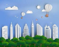 Hot air balloons with gift box floating above urban city landscape vector