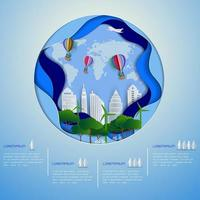 Eco green city on paper art background vector