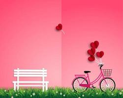 Happy Valentine's day with red balloons flying over garden vector