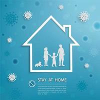 La familia se queda en casa durante el brote de coronavirus covid-19