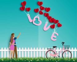 jardín de amor con pareja sobre fondo verde vector