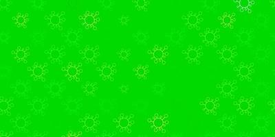 Fondo de vector verde claro, amarillo con símbolos covid-19.