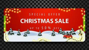 oferta especial, rebajas navideñas, hasta 50 de descuento, hermoso banner rojo de descuento con bosque de pinos en invierno y auto antiguo rojo con árbol de navidad.