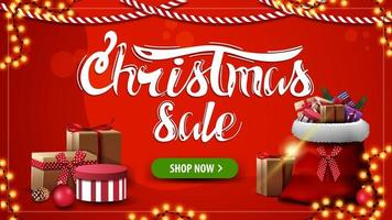 Christmas sale, red discount banner with Santa Claus bag with presents, button and garlands