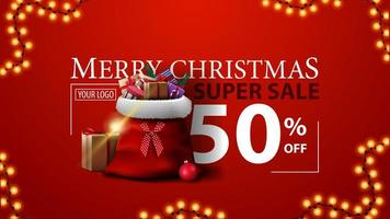 Christmas super sale, up to 50 off, red modern discount banner with Santa Claus bag with gifts