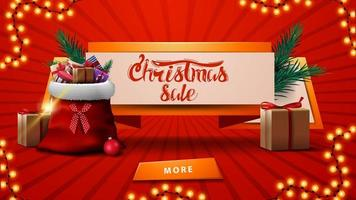 Christmas sales, discount banner in the form of ribbon with Santa Claus bag with presents, Christmas tree branch and button vector
