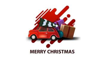 Merry Christmas, white modern greeting card with abstract shapes and red vintage car carrying Christmas tree