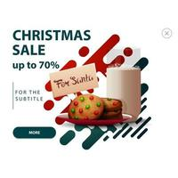 Discount pop up for website with abstract shapes in red and green colors and cookies with a glass of milk for Santa Claus vector