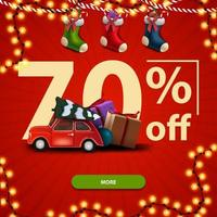 70 off, Christmas square red banner with large numbers, Christmas stockings and red vintage car carrying Christmas tree