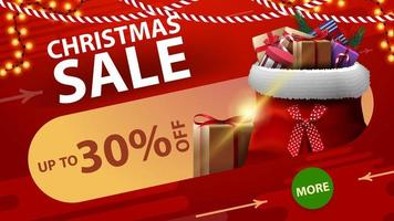 Christmas sale, up to 30 off, red discount banner with round green button, garlands and Santa Claus bag with presents