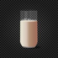 Taza de cristal 3d con leche aislado sobre fondo negro vector
