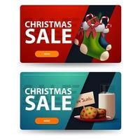 Two discount Christmas banners with cookies with a glass of milk for Santa Claus and Christmas stockings. Red and blue horizontal banners isolated on white background