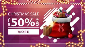 Christmas sale, up to 50 off, pink discount banner with garland, button and Santa Claus bag with presents