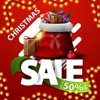 Christmas sale, up to 50 off, square discount banner with Large latters with ribbon with offer and Santa Claus bag with presents