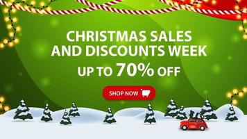 Christmas sales and discount week, up to 70 off, green horizontal discount banner with button, frame garland, pine winter forest and red vintage car carrying Christmas tree. vector