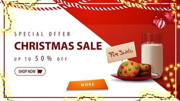 Special offer, Christmas sale, up to 50 off, horizontal white and red discount banner with garlands, button and cookies with a glass of milk for Santa Claus vector