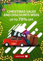 Christmas sales and discount week, up to 70 off, vertical green discount banner with button, abstract shapes and red vintage car carrying Christmas tree