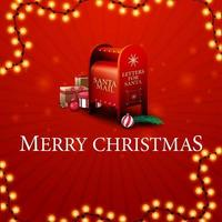 Merry Christmas, red greeting card with Santa letterbox with presents