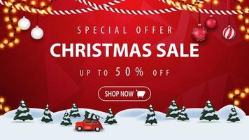 Special offer, Christmas sale, up to 50 off, red horizontal discount banner with button, frame garland, pine winter forest and red vintage car carrying Christmas tree. vector
