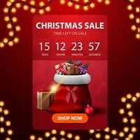 Christmas sale, red vertical discount banner with countdown timer to the end of discounts and Santa Claus bag with presents vector