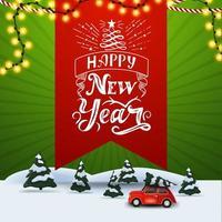Feliz año nuevo, banner de descuento cuadrado verde con marcador rojo con hermosas letras, ilustración de bosque de pinos en invierno y auto antiguo rojo con árbol de navidad vector