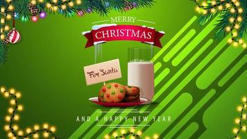 Green Christmas greeting card with cookies with a glass of milk for Santa Claus, garlands and Christmas tree