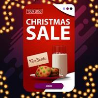 Christmas sale, red vertical discount banner with button and cookies with a glass of milk for Santa Claus vector