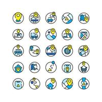 Location and Map filled outline icon set. Vector and Illustration.