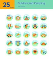 Outdoor and Camping flat icon sel. Vector and Illustration.