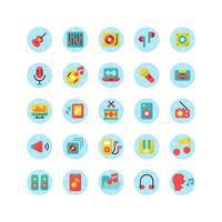 conjunto de iconos planos de música y sonido. vector e ilustración.