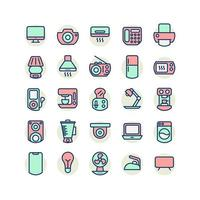 Electrical Appliance filled outline icon set. Vector and Illustration.