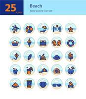 conjunto de iconos de contorno lleno de playa. vector e ilustración.