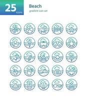 conjunto de iconos de degradado de playa. vector e ilustración.