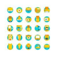 conjunto de iconos planos de aparatos eléctricos. vector e ilustración.