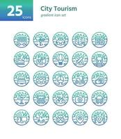 City Tourism gradient icon set. Vector and Illustration.