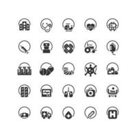 Hospital solid icon set. Vector and Illustration.