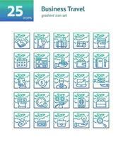 conjunto de iconos de gradiente de viajes de negocios. vector e ilustración.