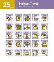 conjunto de iconos de contorno lleno de viajes de negocios. vector e ilustración.