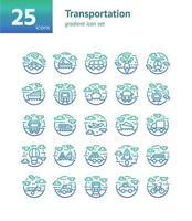 Transportation gradient icon set. Vector and Illustration.