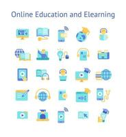 Online Education and Elearning flat icon set. vector
