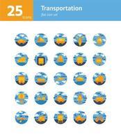 Transportation flat icon set. Vector and Illustration.