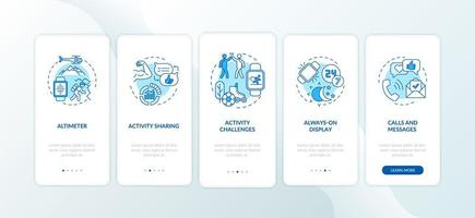 SmartWatch presenta la pantalla de la página de la aplicación móvil incorporada con conceptos